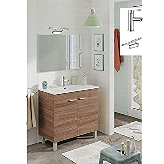 Mueble de baño 2 Puertas + Lavabo (NO clásica cerámica) + Espejo – Grifería e Lámpara LED Incluido