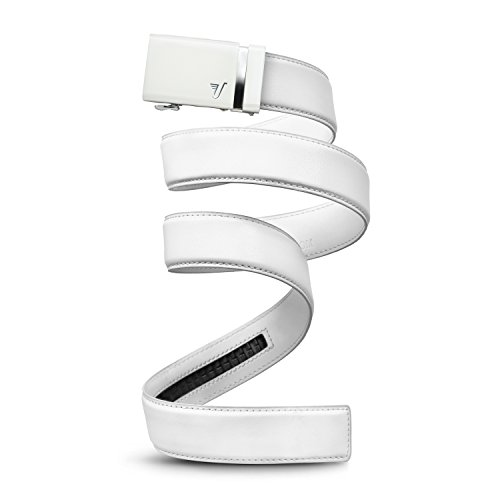 Mission Gürtel Herren Leder Gürtel RATCHET BELT, 40 mm massivem Collection Gr. Small, White Buckle & White Leather (White Wedding-shirt)