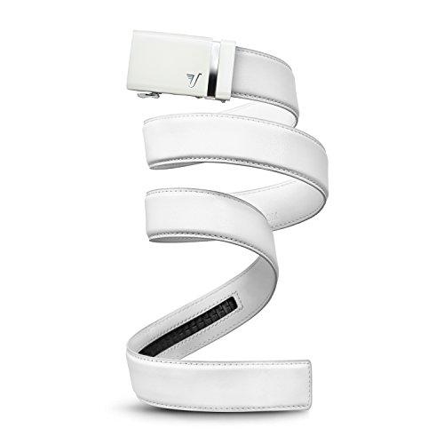Mission Gürtel Herren Leder Gürtel RATCHET BELT, 40mm massivem Collection Gr. Small, White Buckle & White Leather (Wedding-shirt White)