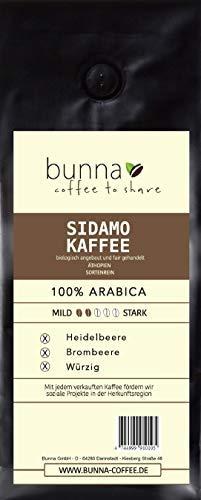 BUNNA COFFEE - PREMIUM KAFFEE - SIDAMO - INTENSIVES AROMA - 100% ARABICA BOHNEN AUS ÄTHIOPIEN, FRISCH GERÖSTET, STÄRKE 2, 500 g.