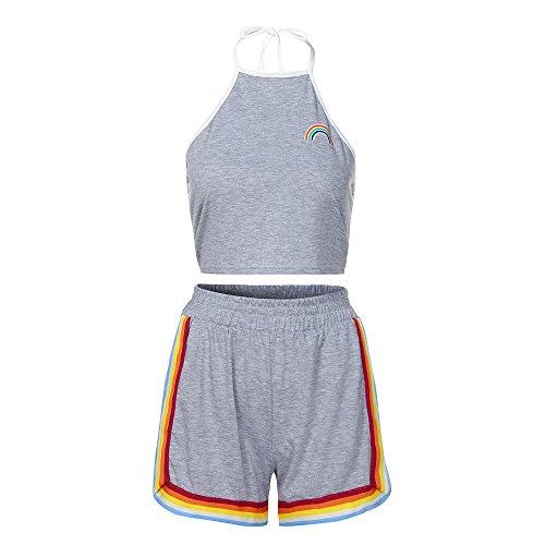 Ansenesna Trainingsanzug Damen Grau Sport Elegant Jogginganzug Outfit Gummibund Shorts und Ärmellos Weste (S, Grau) -