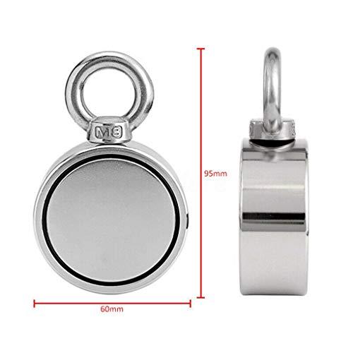 fang FANS 200/300/500 kg Haftkraft Doppelseitig Neodym Ösenmagnet, Magnet Doppelseite Neodym Metall Magnetdetektor Angeln Kit + 10 Mt Seil,NdFeB-Magnete und M8-Stahlplatte Ring Magnet (300KG) -