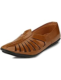 Shoe Fab From Walktoe Ethnic Faux Leather Fancy Tan Brown Mojari
