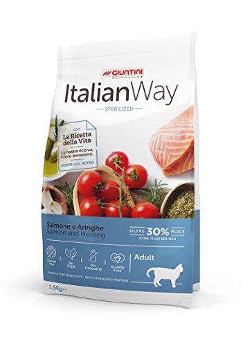 Italian Way Croccantini per Gatti Sterilizzati - ricetta Ipoallergenica al Salmone e Aringhe - Adult - 8000 gr