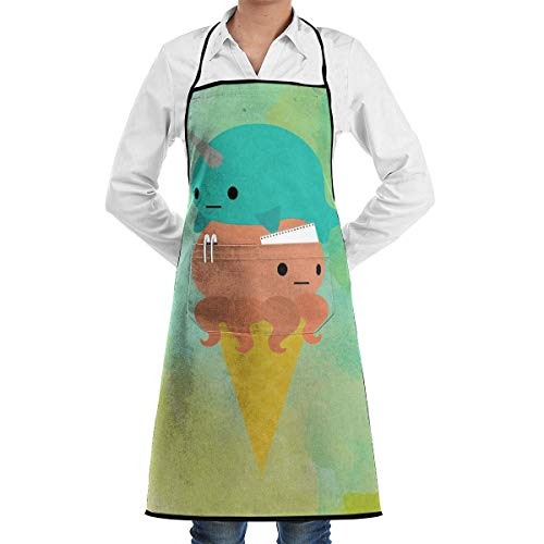 Wdskbg Narwhal Octopus Ice Cream Kitchen Apron with Convenient Pocket for Women/Men Professional Chef Apron for Cooking Grill And Baking