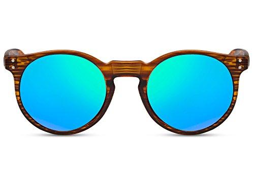 Cheapass Sonnenbrille Holz Rund Braun Verspiegelt Grün-Blau UV400 Retro Vintage Plastik Damen Herren