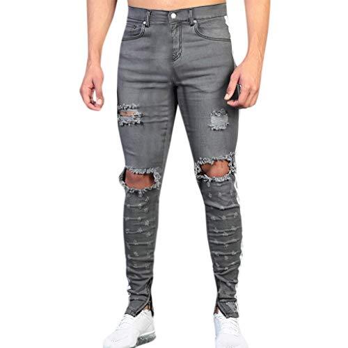 zarupeng‿ Pantalón de bolsillo de algodón de mezclilla retro de moda para hombre, pantalones desgastados, jeans rotos