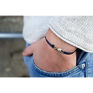 Dezentes Armband für Herren - edles Wickelarmband für Männer Minimalistisch - stufenlos verstellbar mit Karabiner-Haken Gold (Dunkelblau)