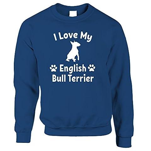 I Love My English Bull Terrier Dog Lover Gift Cute Silouhette Breed Owner Pet Animal Companion Hound Paw Canine Slogan Unisex Sweatshirt Sweater Cool Birthday Gift Prese