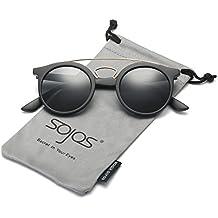 SojoS Klassische Doppelte Metallbrücken Runde Sonnenbrille für Herren Damen SJ2024 mit Schwarz Rahmen/Grau Linse