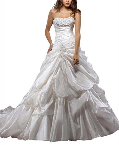 GEORGE BRIDE Abnehmbare Spitze-Buegel Taffata Pick-up Ballkleid Brautkleider Hochzeitskleider,Groesse 48,Weiss (Ballkleid Pickup)