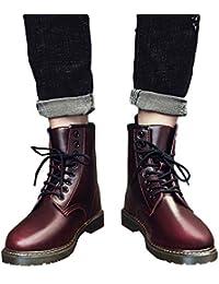 Zapatos de hombre JiaMeng Moda Oxford Zapatos con Cordones Botines Adventure Adulto de Punta Redonda de Cuero de Negocios Informal con Cordones Zapatos Botas