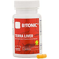 Leber Detox (Liver Detox) & Leberreinigung – 30 Tage Leberkur - Mit Bio Curcuma (Kurkuma) 400 mg, Artischocken Extrakt, Bioperin & Cholin - B!TONIC Terra Liver - 60 Kapseln