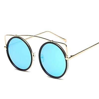 Qmber Reise Sonnenbrille, Frauen Mode Katze Ohr Sonnenbrille Metallrahmen Sonnenbrille Marke Classic Tone-Spiegel Sonnenbrille modische schöne Runde Gläser