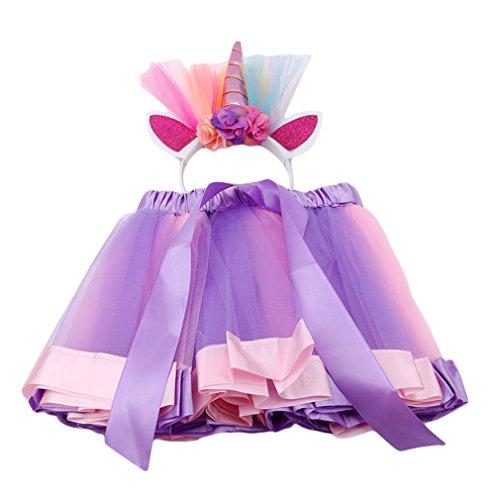 Pinhan Layered Rainbow Einhorn Tutu Stirnband Anzug Party Urlaub Kostüm Mädchen Cosplay Einhorn Prinzessin Rainbow Rock, M-Code Licht rosa lila