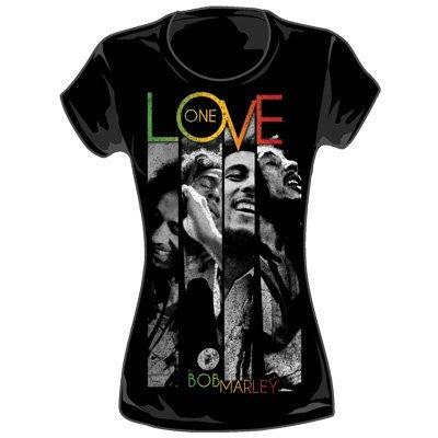 Bob Marley - One Love Stripes Da donna T-Shirt in Nero, Size: X-Large, Color: ...