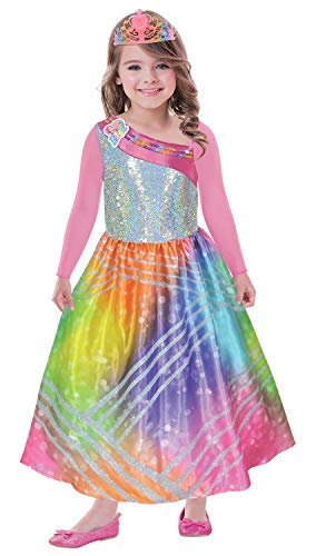 Fancy Me Mädchen Offiziell Barbie Regenbogen Magie Prinzessinnenkleid -