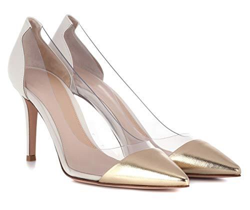 uBeauty Damen High Heels Stilettos Slip-on Pumps Spitze Zehen Klassischer Übergröße Transparent PVC Schuhe 85MM Heels Pumps Gold 39.5 EU