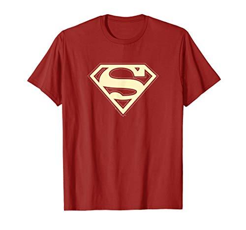 Superman Crimson & Cream Shield T Shirt Damen Crimson Cream