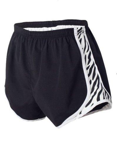 Boxercraft Damen Neuheit Velocity Running Short, Größe S, schwarz/weiß/zebra (Running Zebra Shorts)
