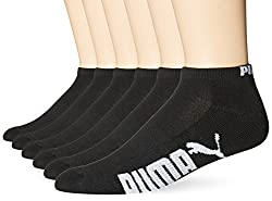 Puma Socks Mens Low Cut Socks, Black/White, 10-13/6-12 (Pack of 12)