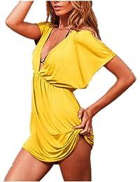 Aolevia Damen Sommer Kleid V-Ausschnitt Beach Kleid Strandkleid Für Frauen Size XS - M