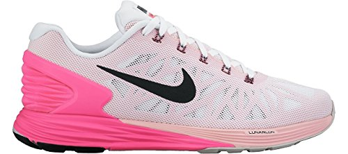 Nike Lunarglide 6, Running Entrainement Femme Blanco (White / Black-Pink Pow-Spc Pink)