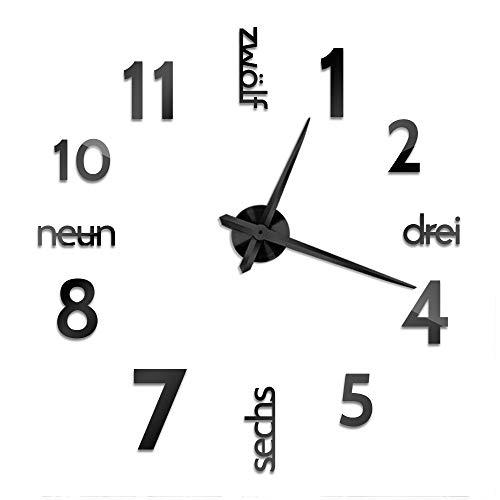 Cander Berlin MNU 0180 S XXL 3D Schwarze Riesen Designer Wanduhr Wohnzimmer Dekoration Wandtatoo mit deutschem Zifferblatt aus Acryl
