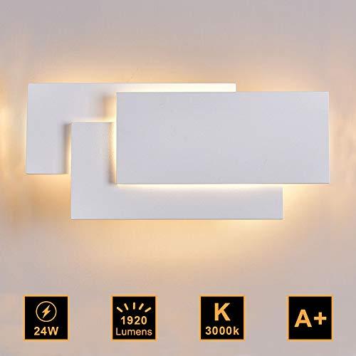 Ralbay Lampada da Parete Led 24W IP20 Applique da Parete per Interno Luce Bianca Calda Moderna Elegante per Scale Notte Corridoio Muro Soggiorno per Casa Hotel Ristorante