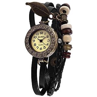 Alain Miller Damenuhr mit Echtleder Wickelarmband, Druckknopfverschluss, Bandlänge 19 cm