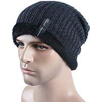 BLACK ELL Gorros de algodón de Punto para Hombre de Invierno cálidos y cómodos, además de Terciopelo Grueso Hombre Mujer u, 5