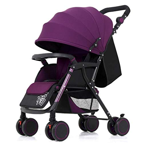 HZC Kinderwagen Leichte, tragbare, zusammenklappbare Kinderwagen mit vier Rädern for Neugeborene und Kleinkinder (Farbe : Lila)