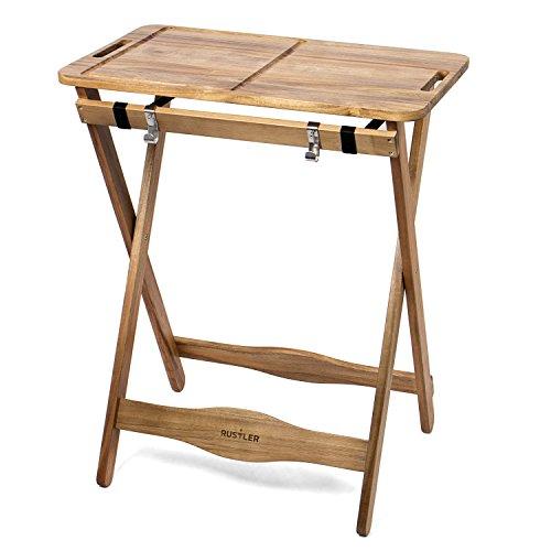 Rustler Tranchiertisch Beistelltisch Gartentisch mit abnehmbaren Tablett (zusammenklappbar)   für Küche, Garten, Terasse oder Balkon   FSC® 100% Akazien Holz (braun) geölt   Maße: 70 x 51 x 85 cm