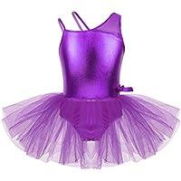 120de2028f44f TiaoBug Tutú Vestido Danza Ballet Niñas Infántil Maillots de Tirantes Un  Hombro Leotardo Brillo de Baile