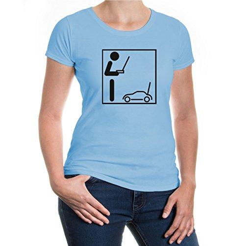 buXsbaum® Girlie T-Shirt Modellauto-Piktogramm Skyblue-Black