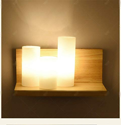 DENA Moderne Wandlampe aus kreativem Holz Modernes minimalistisches Wohnzimmer mit Balkon mit Blick auf Das Schlafzimmer in geführter hölzerner Nachttischlampe Mode mit Heimgebrauch,Holzfarbe