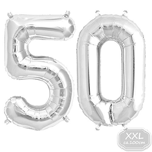 Folienballon Zahl in Silber- XXL 40
