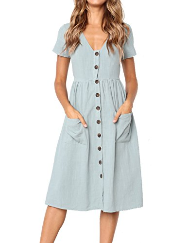 BaseLife Women's Summer Solid Color Short Sleeve V Neck Button Down Casual Swing Midi Dress with Pockets