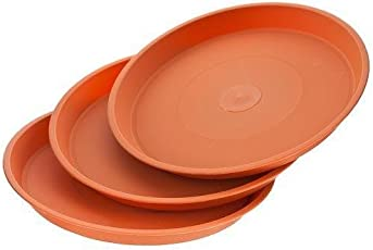 Trust basket UV Treated,Best Quality 8 Inch Bottom Tray(Plates/Saucer) Terracotta Color (Set Of 12) For 10 Inch Plastic Pot
