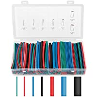 Eventronic Tubo termorretráctil de 200 piezas 2: 1, surtido de envoltura de cable de alambre eléctrico Kit de tubo termorretráctil de aislamiento eléctrico con caja (4 colores / 7 tamaños)