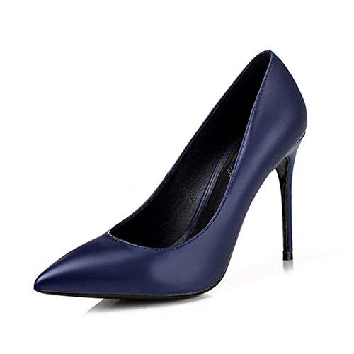 YIXINY Escarpin M-002 Chaussures Femme PU+caoutchouc Pointu la bouche peu profonde Amende Talon Mariage Occupation Chargé 8.5/10cm Talons hauts Bleu