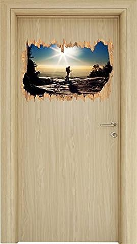Wintersport Sonnenuntergang, Ski in Abenddämmerung Holzdurchbruch im 3D-Look , Wand- oder Türaufkleber Format: 62x42cm, Wandsticker, Wandtattoo, Wanddekoration