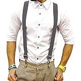 AFUT 3 Stück Unisex Hosenträger Y-Form Länge für Damen und Herren mit 3er starken Clips Schmal Elastisch Gürtel Längeverstellbar Bunt Farbig Suspenders