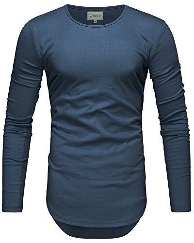 Crone Herren Langarm Shirt Longsleeve Slim Fit T-Shirt Leicht Oversize Basic Sweatshirt in Vielen Farben (XL, Himmelblau)