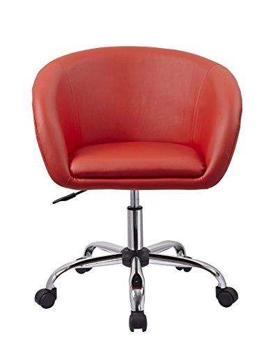Drehstuhl mit Rollen Rot Schreibtischstuhl Arbeitshocker aus Kunstleder Hocker Kosmetikhocker Duhome 0547