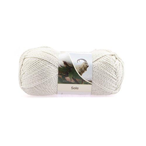 50g Pascuali Sole Wolle Strickwolle aus 90% Baumwolle und 10% Kaschmirwolle, Farbe:silbergrau 14