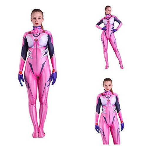 werty Evangelion Anime Kostüme Asuka Cosplay Voller Satz Von Kleidung Strumpfhosen Erwachsene Halloween Cosplay Cosplay VêTements Pink-Adult-L (Asuka Cosplay Kostüm)