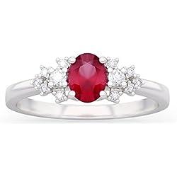 Anillo VIRNA con rubí en oro 18kt, paladio y diamantes para mujer