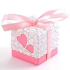 Idea Regalo - JZK 50 Rosa cuore scatola portaconfetti scatolina bomboniera segnaposto portariso per matrimonio compleanno battesimo Natale nascita laurea comunione