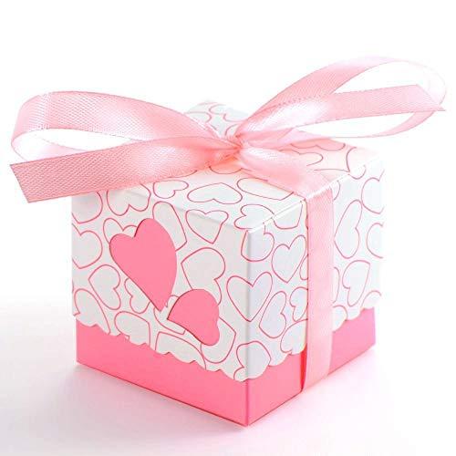 JZK 50x Rosa Herz Gastgeschenk Box Süßigkeiten Schachtel Geschenk Kasten für Hochzeit Geburtstag...